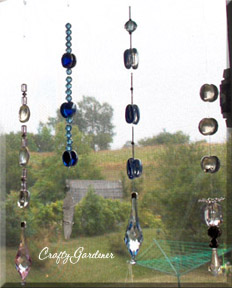 garden danglers from fishing line, beads and flat gems at craftygardener.ca