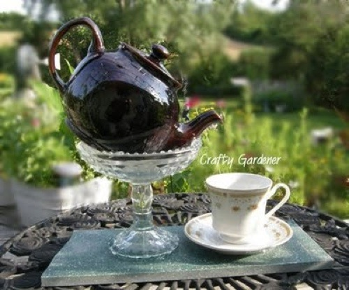 a whimsical cup of tea at craftygardener.ca