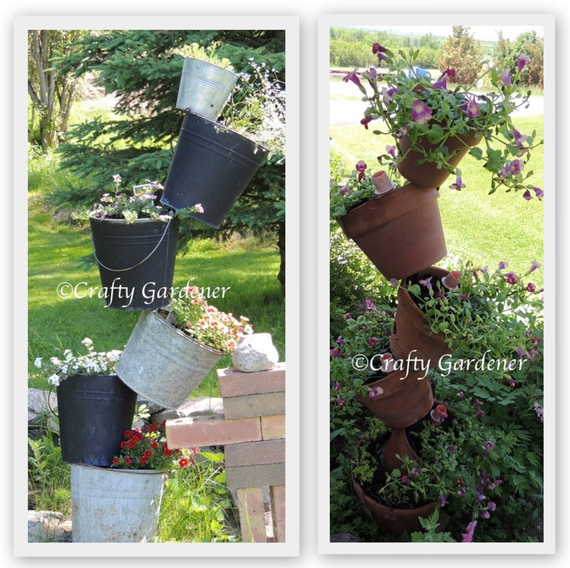 tipsy buckets and pots, http://www.craftygardener.ca