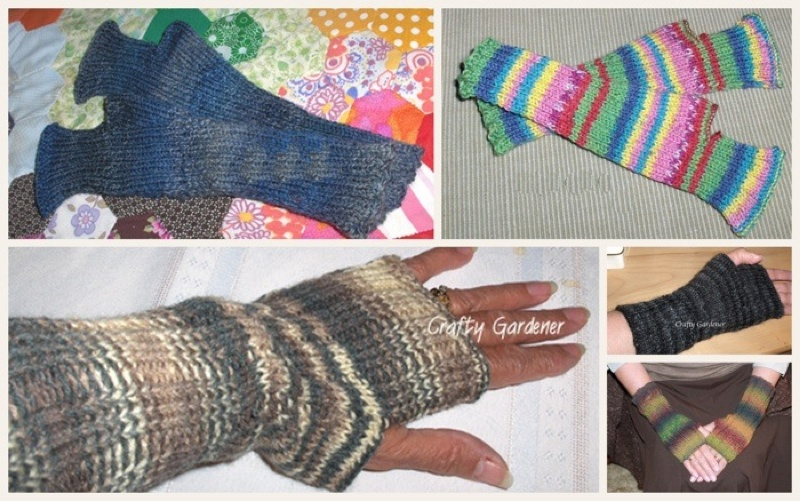 fingerless gloves at craftygardener.ca