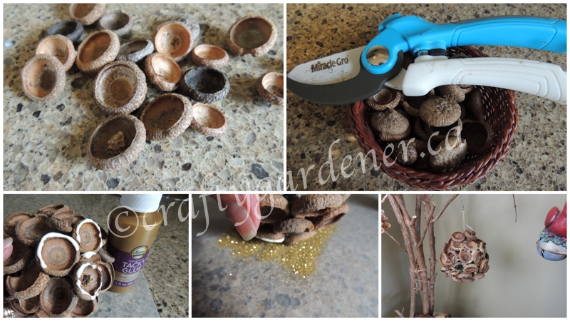 making an acorn cap ornament at craftygardener.ca