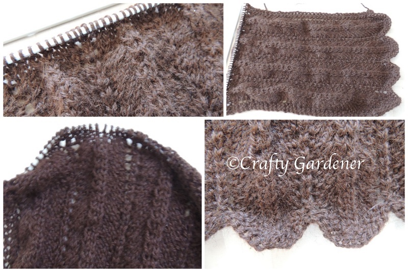 a scarf knitted with brown alpaca yarn at craftygardener.ca