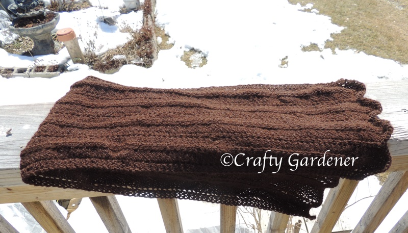 soft brown alpaca yarn scarf at craftygardener.ca