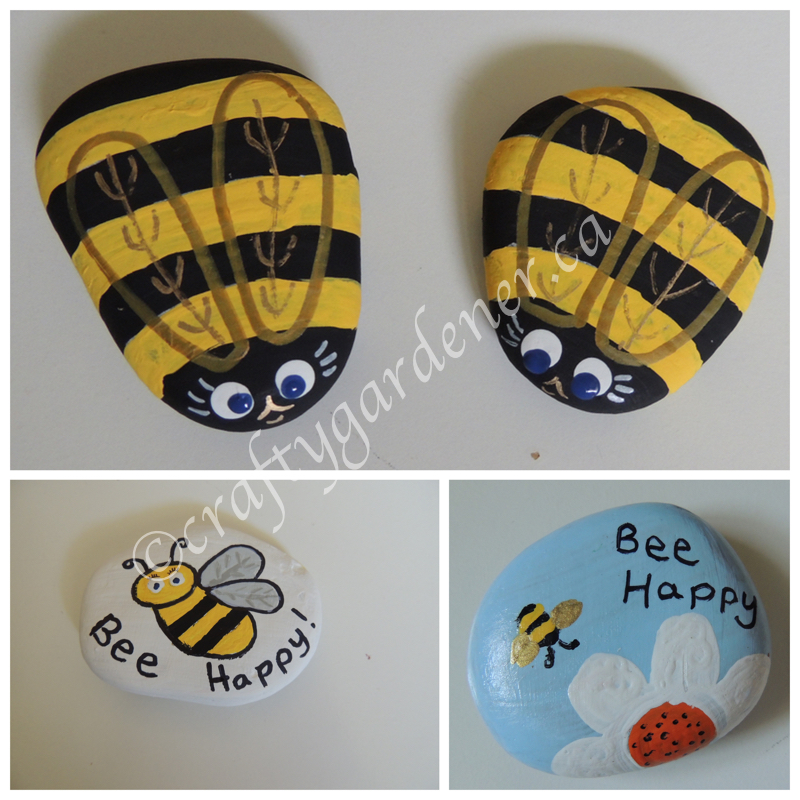 painting bee rocks at craftygarder.ca