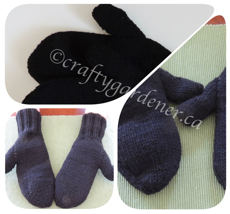knitting black mittens at craftygardener.ca