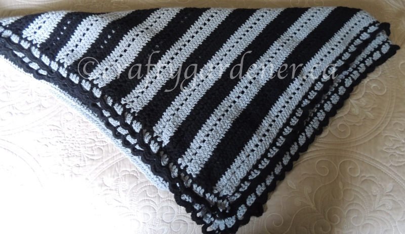 a black and grey stripe afghan at craftygardener.ca