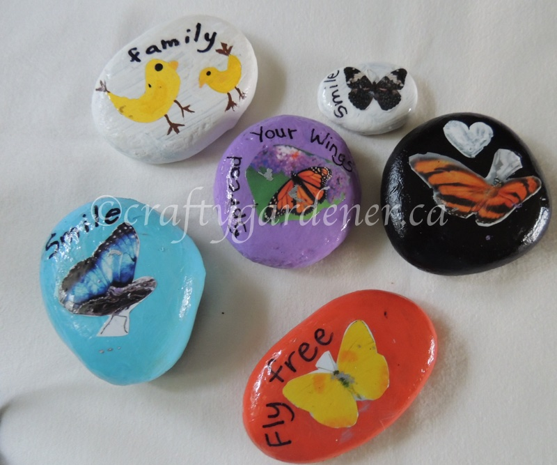 how to make decoupage butterfly rocks at craftygardener.ca