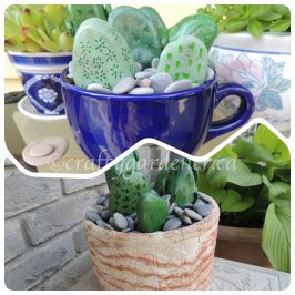 painting cactus rocks at craftygardener.ca