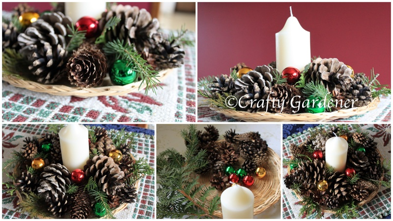 make a pinecone and candle centre piece for the holiday table at craftygardener.ca