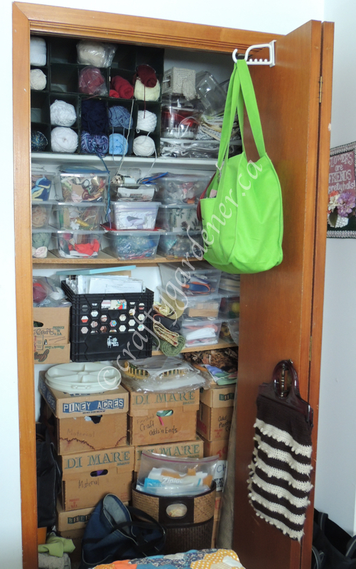 the craft closet in the Dabbling Room at craftygardener.ca