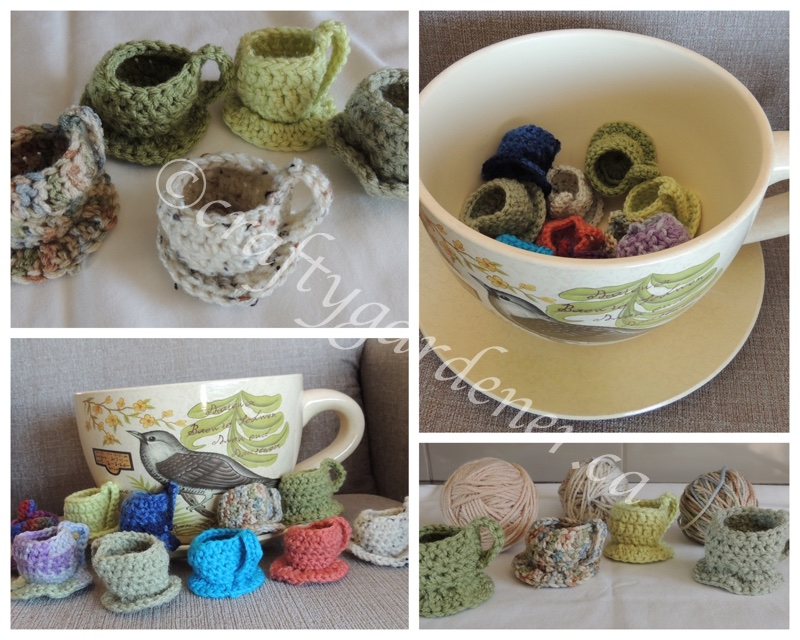 little crochet teacups at craftygardener.ca
