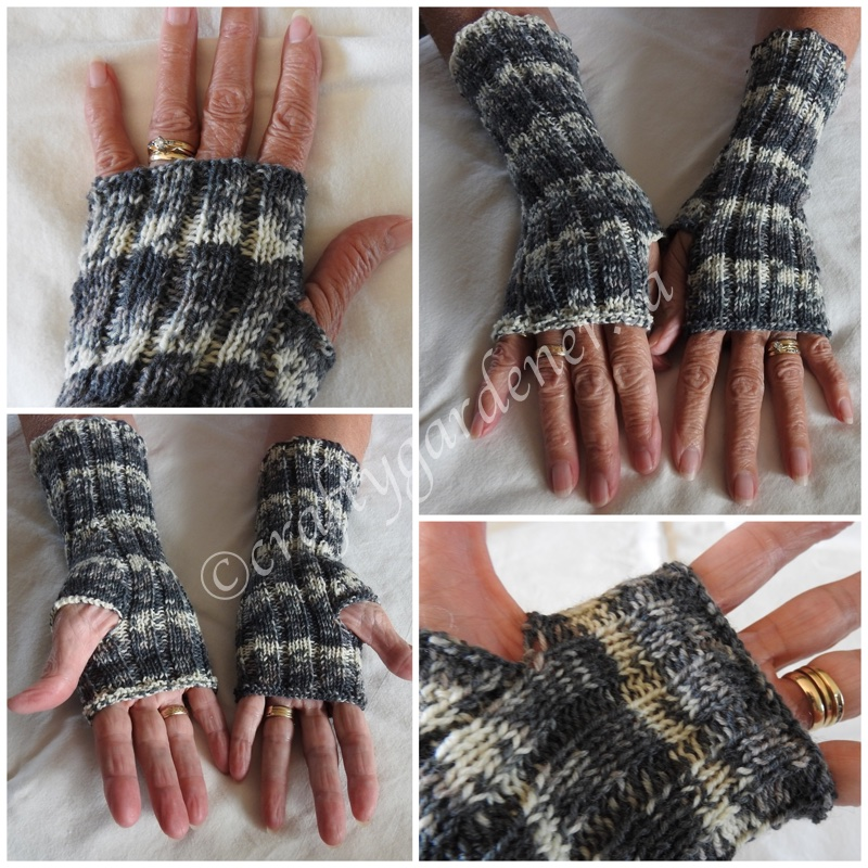 knitting fingerless mitts at craftygaredener.ca