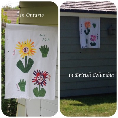 homemade garden flags at craftygardener.ca