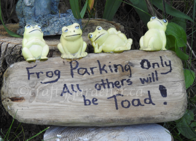 Frog parking sign at craftygardener.ca