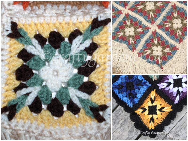 granny square lapghans at craftygardener.ca