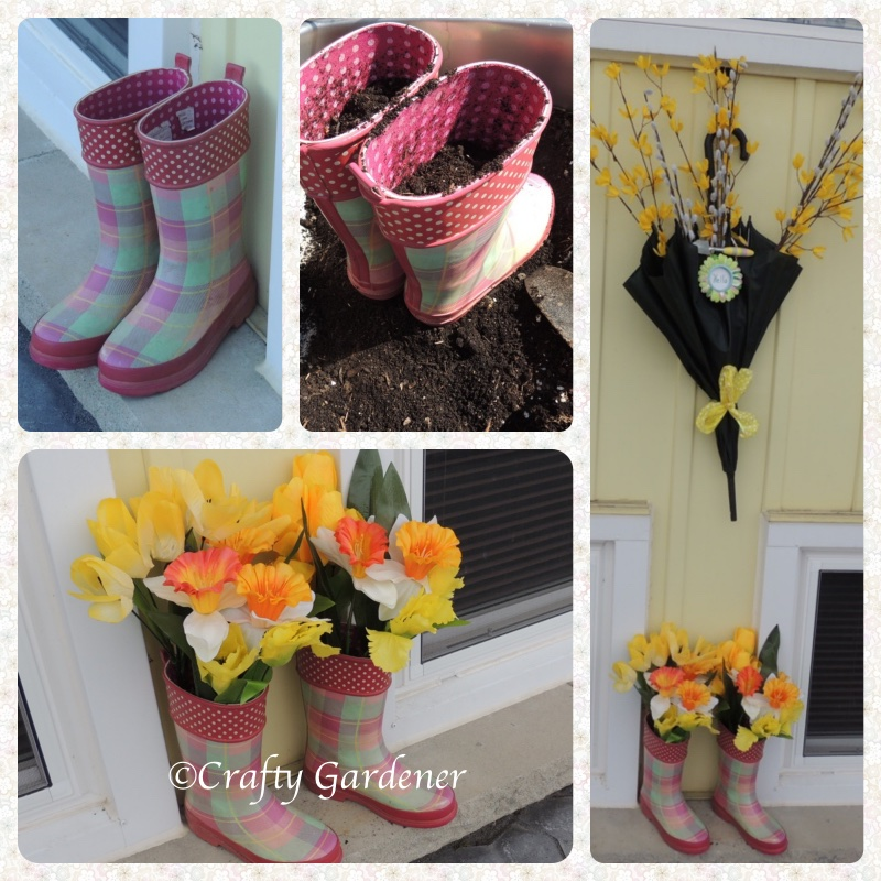 boot planters at craftygardener.ca