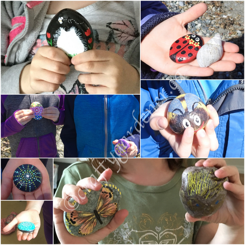 the grandkids found lots of painted rocks at craftygardener.ca