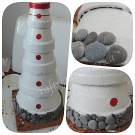 making a clay pot lighthouse at craftygardener.ca