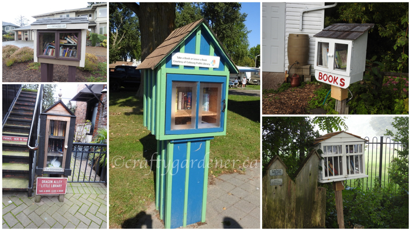 some little free libraries I've visited from craftygardener.ca