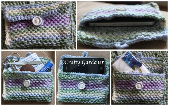 knitted pouch at craftygardener.ca