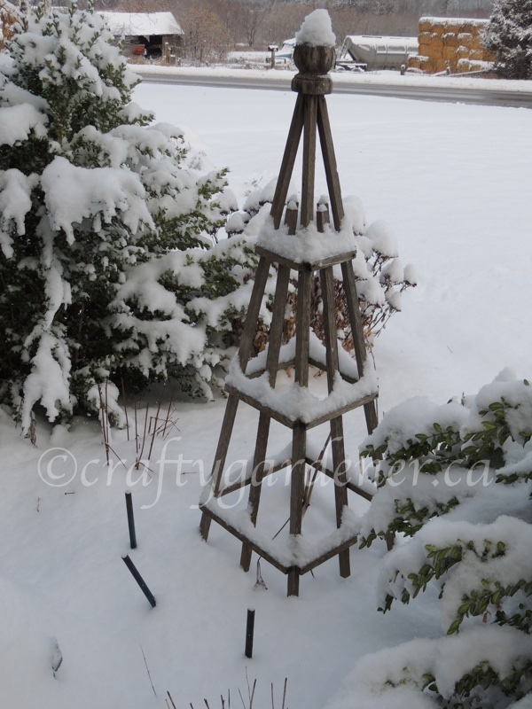 the wooden obelisk at craftygardener.ca