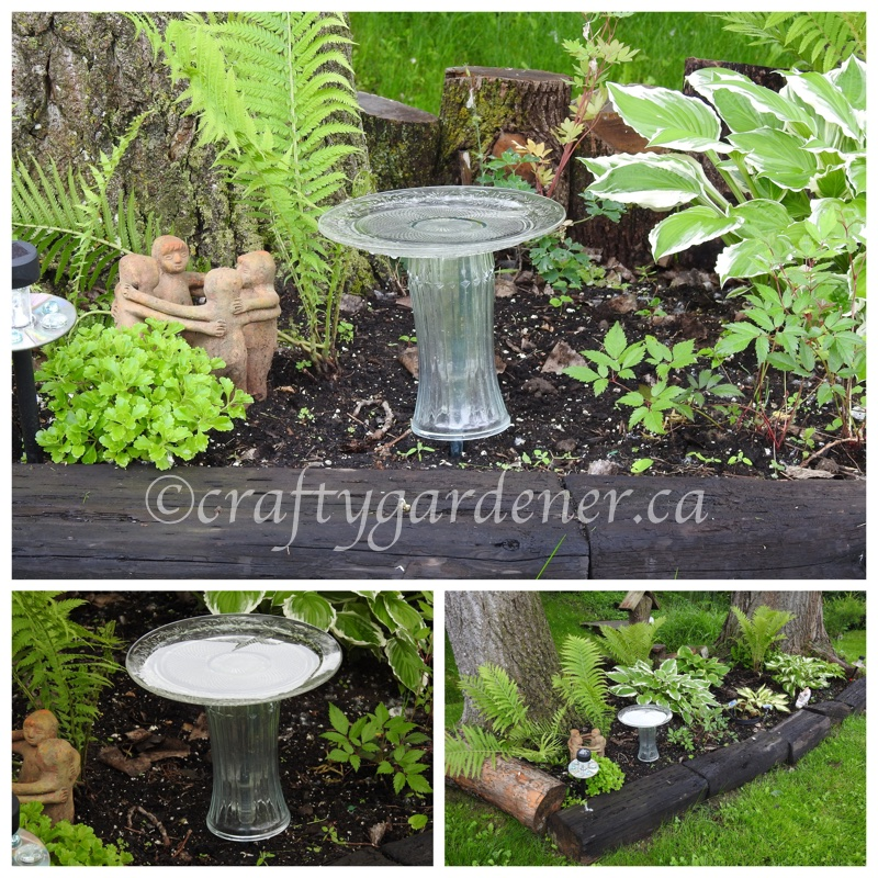 recycling old glass into a birdbath at craftygardener..ca