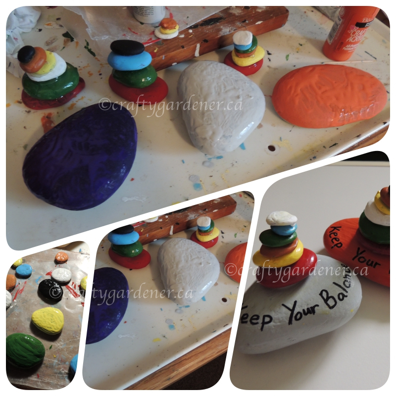painted rock stacks at craftygardener.ca