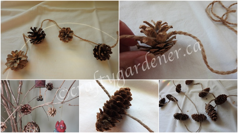 making pinecone garlands at craftygardener.ca
