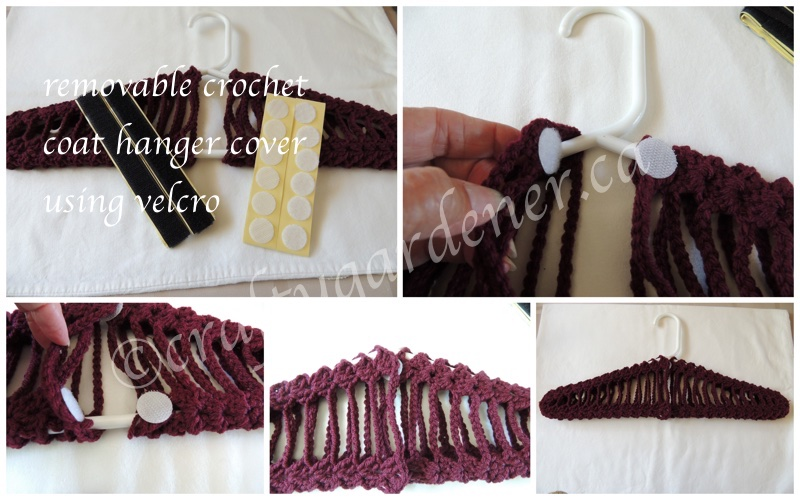 removable crochet covered coat hangers at craftygardener.ca