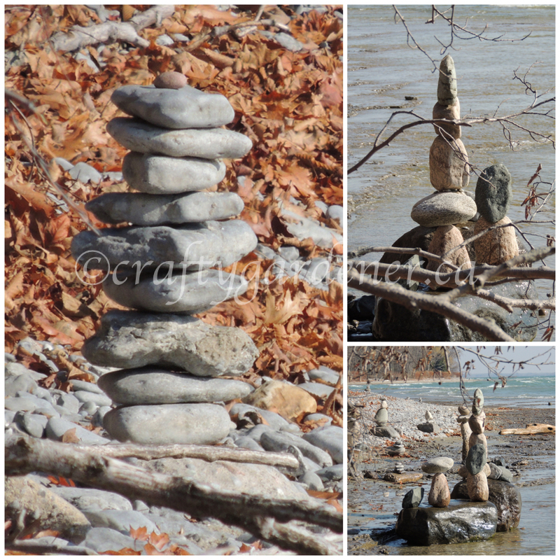 rock stacking at craftygardener.ca