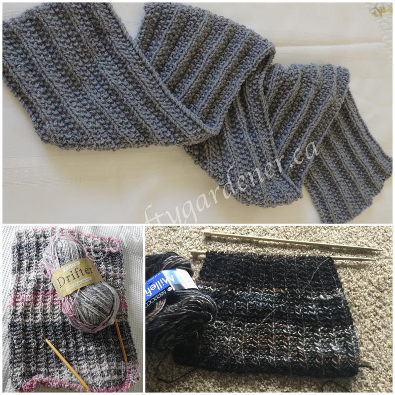 knitted scarves at craftygardener.ca
