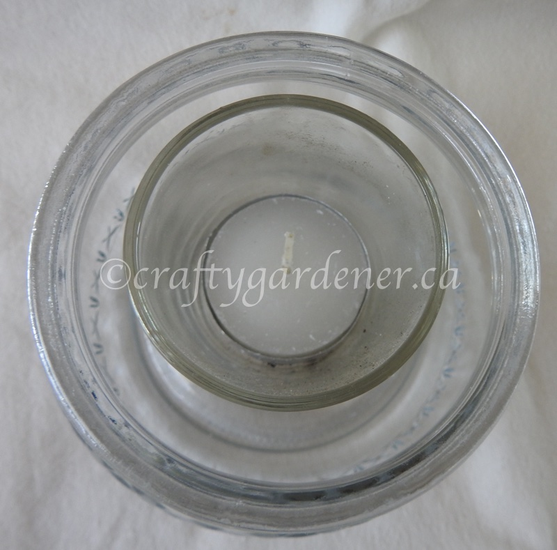 How to make a sea glass candle at craftygardener.ca