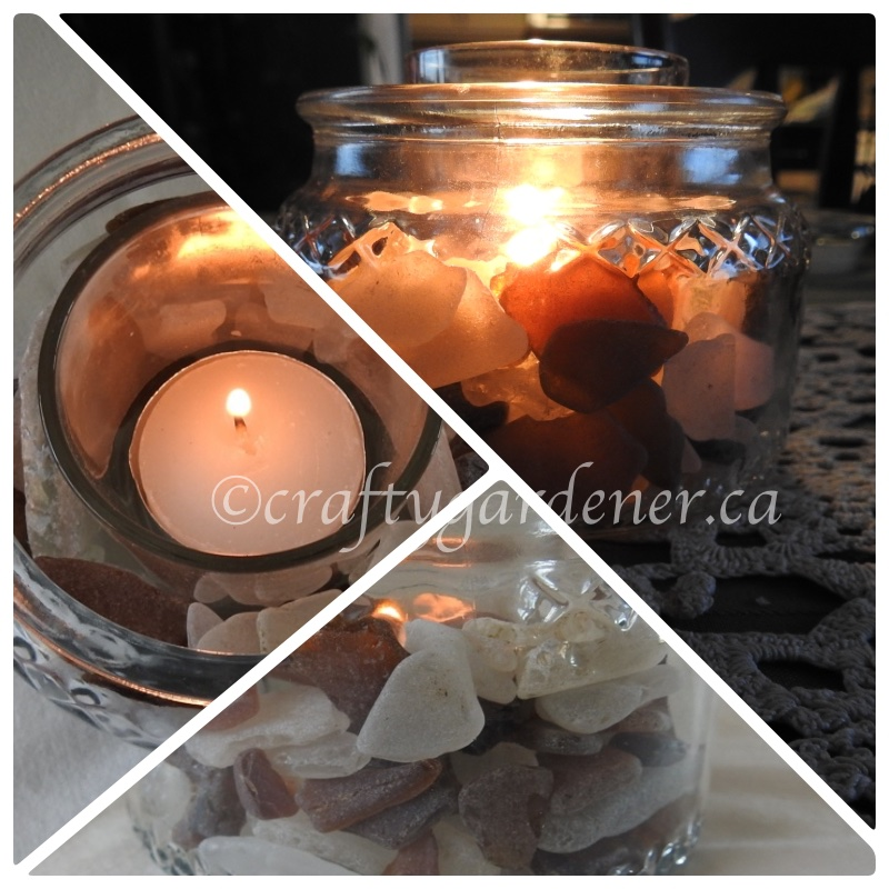 a sea glass candle at craftygardener.ca