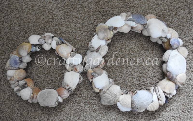 making a shell wreath at craftygardener.ca