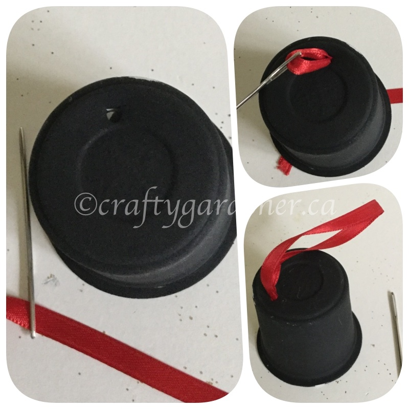 how to make a snowman hat out of a coffee pod container at craftygardener.ca