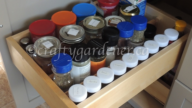 organizing the seasonings and spices at craftygardener.ca