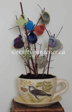 making a tea cup planter at craftygardener.ca