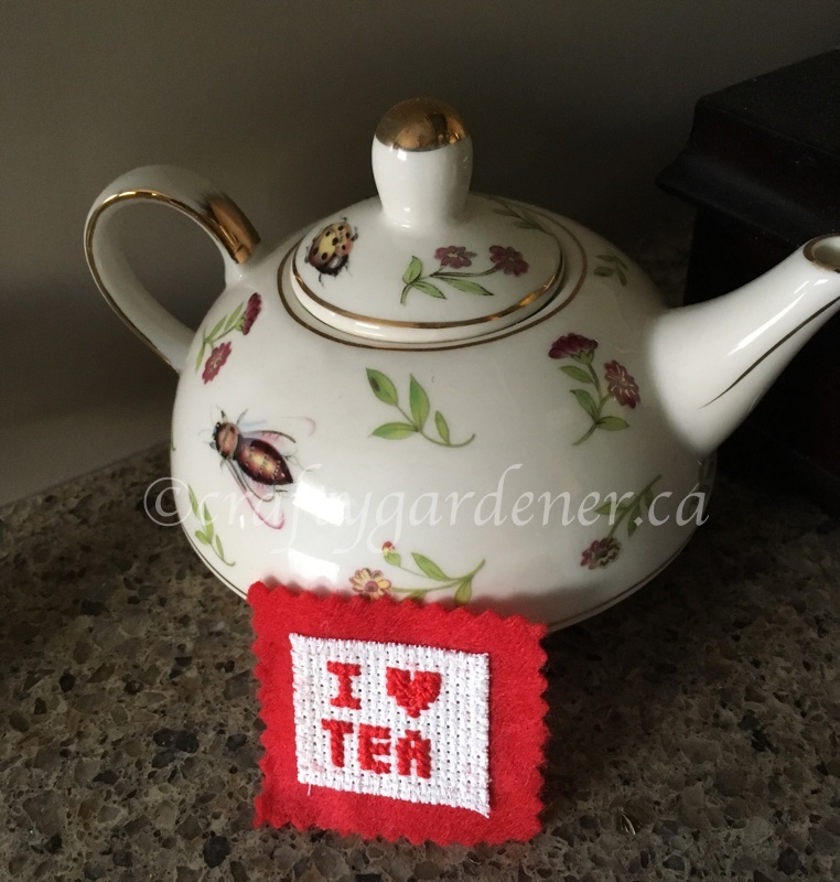 a cross stitch tea magnet at craftygardener.ca