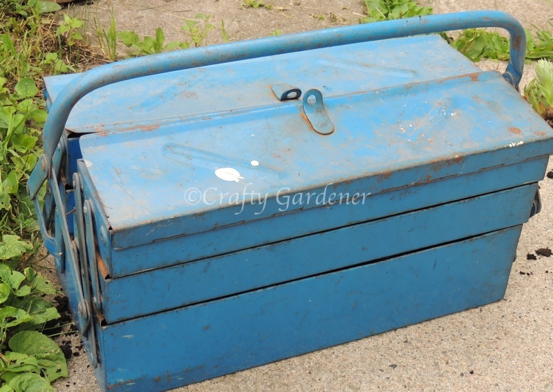 an old toolbox ready to convert to a planter