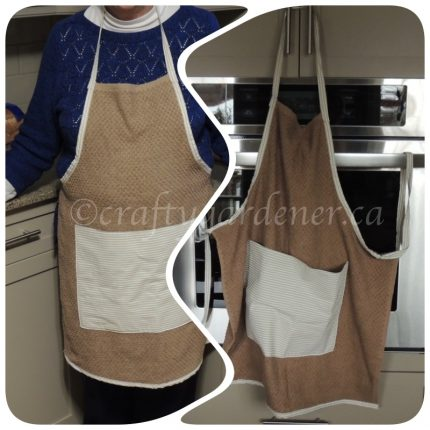 making a towel apron at craftygardener.ca
