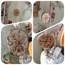 how to make wooden disc ornaments at craftygardener.ca