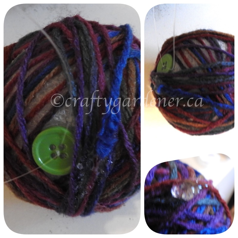 making yarn ball ornaments at craftygardener.ca