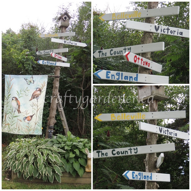 repainting the sign post at craftygardener.ca