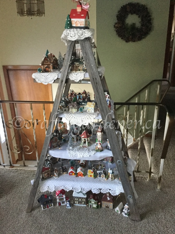 the Christmas village on the old ladder at craftygardener.ca