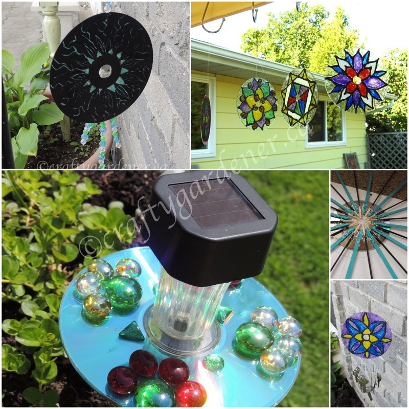 creating whimsy for the garden with old CDs at craftygardener.ca