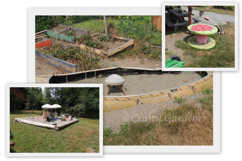 children's play area in the community gardens in Sooke, British Columbia