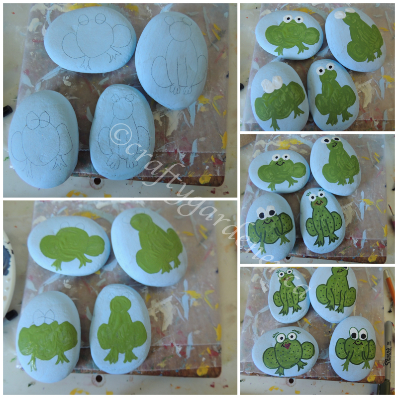 painting frog rocks at craftygardener.ca