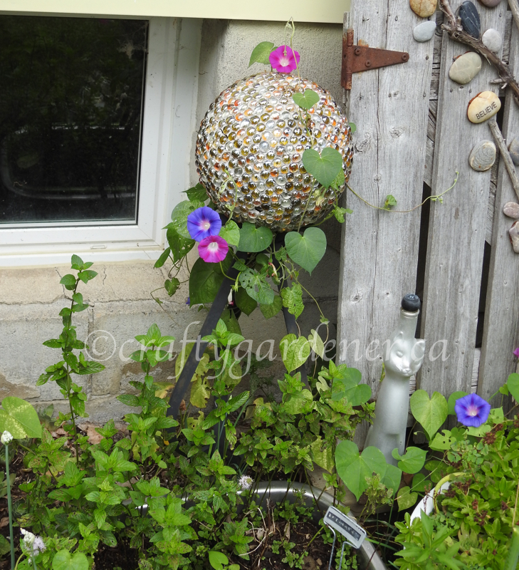 a gazing ball at craftygardener.ca