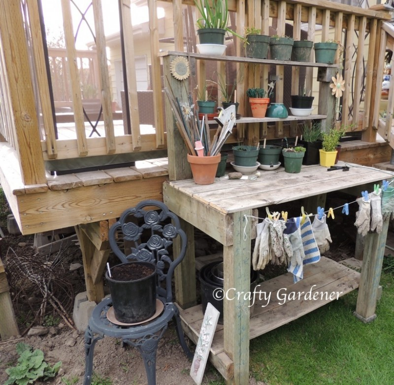 the garden workbench made from recycled deck lumber ... a great place for working outside