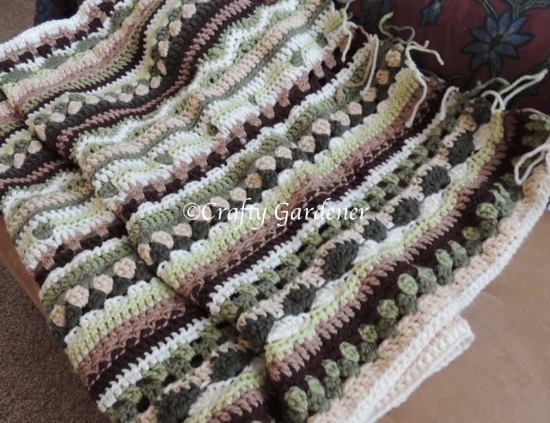 afghan in greens, beige, brown at craftygardener.ca